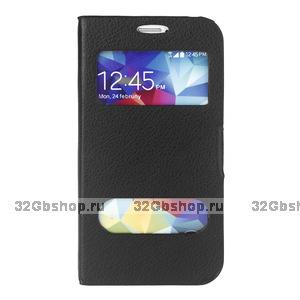 Чехол книга для Samsung Galaxy S5 черная с окошком