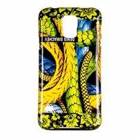 Силиконовый чехол  для Samsung Galaxy S5 i9600 черный желтая хохлома и змея