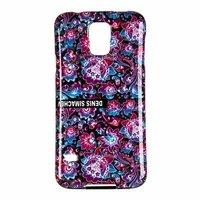 Силиконовый чехол  для Samsung Galaxy S5 i9600 черный фиолетовые и голубые цветы