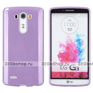 Фиолетовый глянцевый силиконовый чехол для LG G3