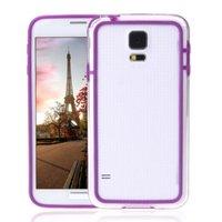 Чехол бампер для Samsung Galaxy S5 прозрачный с фиолетовой вставкой
