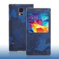 Джинсовый чехол с окошком для Samsung Galaxy S5 синий камуфляж - S View Jeans Camouflage Blue Case