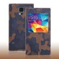 Джинсовый чехол с окошком для Samsung Galaxy S5 коричневый камуфляж - S View Jeans Camouflage Brown Case