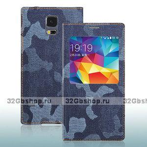 Джинсовый чехол с окошком для Samsung Galaxy S5 серый камуфляж - S View Jeans Camouflage Grey Case