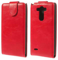 Красный флип чехол для LG Optimus G3 S / mini эко кожа - Crazy Horse Grain Eco Leather Flip Case Red