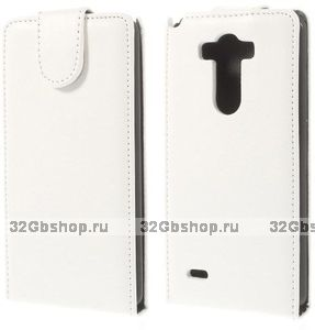 Белый флип чехол для LG Optimus G3 S / mini эко кожа - Crazy Horse Grain Eco Leather Flip Case White