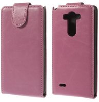 Розовый флип чехол для LG Optimus G3 S / mini эко кожа - Crazy Horse Grain Eco Leather Flip Case Pink