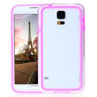 Ярко-розовый бампер для Samsung Galaxy S5 mini с прозрачной вставкой