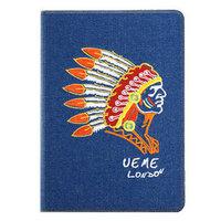 Джинсовый чехол для iPad Air с вышивкой индеец - UEME Tribal Chief Jeans Smart Case