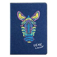 Джинсовый чехол для iPad Air с вышивкой зебра - UEME Zebra Jeans Smart Case