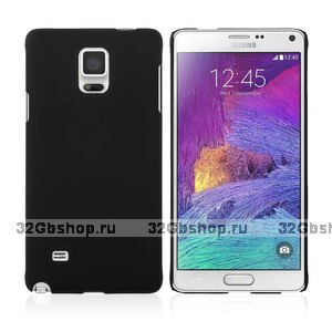 Черный пластиковый чехол накладка для Samsung Galaxy Note 4 - Soft Touch Hard Plastic Case Black