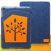 Джинсовый чехол для iPad Air с нашивкой оранжевое дерево - UEME Dream Tree Jeans Smart Case