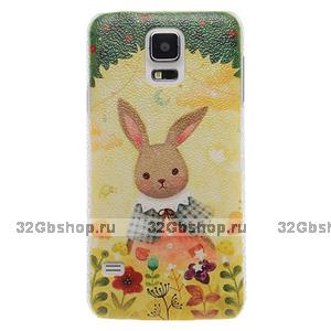 Пластиковый чехол c рисунком для Samsung Galaxy S5 заяц на поляне