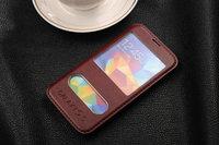 Чехол книга для Samsung Galaxy S5 с окошком коричневый