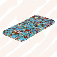 """Пластиковый чехол накладка для iPhone 6 (4.7"""") голубая разноцветные цветы"""