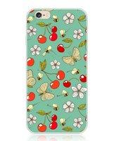 """Силиконовый чехол накладка со стразами для iPhone 6 / 6s (4.7"""") бабочки и вишенки"""