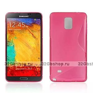 Розовый силиконовый чехол для Samsung Galaxy Note 4 - S Style Silicone Case Pink