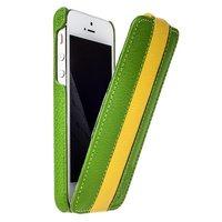 Кожаный чехол Melkco для iPhone 5s / SE / 5 зеленый с желтой полосой - Leather Case Limited Edition Green/Yellow
