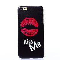 """Черный пластиковый чехол для iPhone 6 / 6s (4.7"""") накладка с рисунком губы Kiss Me"""