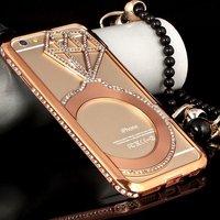 "Чехол накладка-бампер металлический для iPhone 6 (4.7"") красное золото со стразами - Diamond Red Gold Case iPhone 6"