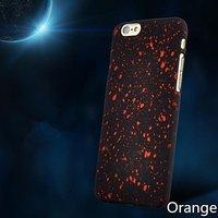 """Черный пластиковый чехол для iPhone 6 / 6s (4.7"""") оранжевые звезды"""
