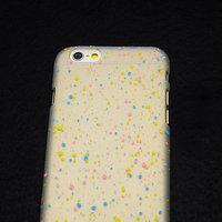 """Белый пластиковый чехол для iPhone 6 Plus / 6s Plus (5.5"""") матовый светящийся в темноте голубые розовые желтые капли"""