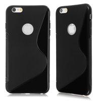 """Черный силиконовый чехол для iPhone 6 / 6s (4.7"""") с окошком для лого - S Line Wave Black"""