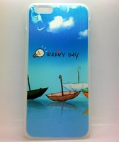 """Чехол пластиковый для iPhone 6 / 6s (4.7"""") накладка голубое небо и зонтики"""