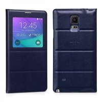 Синий чехол с окном Hoco для Samsung Galaxy Note 4 обложка и задняя крышка - Hoco Original Series S View Case Sapphire