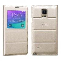 Золотой чехол с окном Hoco для Samsung Galaxy Note 4 обложка и задняя крышка - Hoco Original Series S View Case Golden