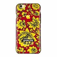 """Черный силиконовый чехол для iPhone 6 / 6s (4.7"""") желтая хохлома"""