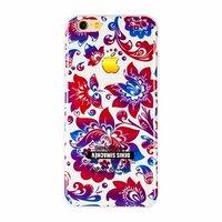 """Белый силиконовый чехол для iPhone 6 / 6s (4.7"""") Хохлома красно-синяя"""