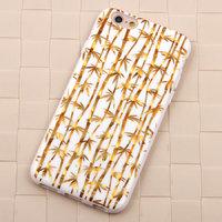 """Белый силиконовый чехол для iPhone 6 / 6s (4.7"""") золотой бамбук"""