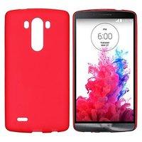 Красный матовый силиконовый чехол для LG G3