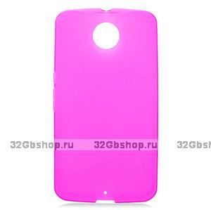 Розовый матовый силиконовый чехол для Goole Nexus 6