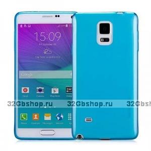 Голубой прозрачный силиконовый чехол для Samsung Galaxy Note 4