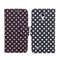 Чехол книга для Samsung Galaxy S4 Mini черный в розовый горошек - Polka Dots Case