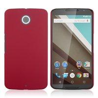 Матовый пластиковый чехол для Goole Nexus 6 красный с покрытием soft touch
