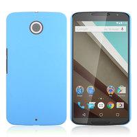 Матовый пластиковый чехол для Goole Nexus 6 голубой с покрытием soft touch