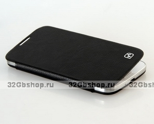 Кожаный чехол книжка HOCO для Samsung Galaxy S4 на заднюю крышку - S View Original series Classic Leather Case Black
