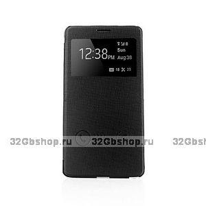 Чехол книжка для Samsung Galaxy Note 4 с окном черный - View Case Black