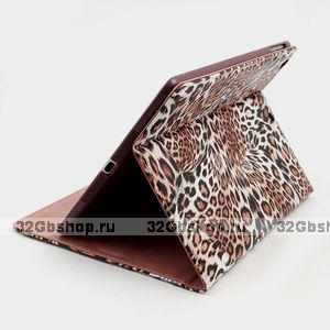 Чехол книжка для iPad Air леопард - Leopard Print Case Brown
