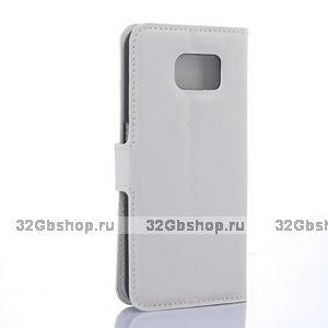 Белый чехол кошелек для Samsung Galaxy S6 с отделением для денег и карт