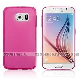 Розовый силиконовый чехол для Samsung Galaxy S6