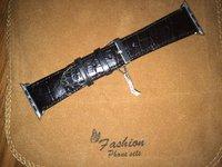 Черный ремешок из кожи крокодила для Apple Watch 42мм
