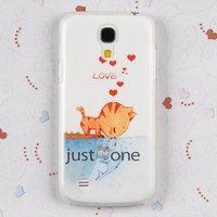 Прозрачный силиконовый чехол для Samsung Galaxy S4 Mini с рисунком котенок и рыбка