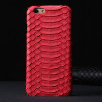 """Премиум чехол из кожи змеи для iPhone 6 / 6s (4.7"""") коралловый"""
