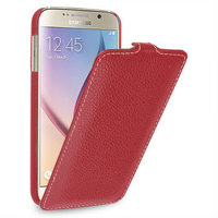 Красный кожаный чехол для Samsung Galaxy S6 - Sipo V-series Red Leather Case