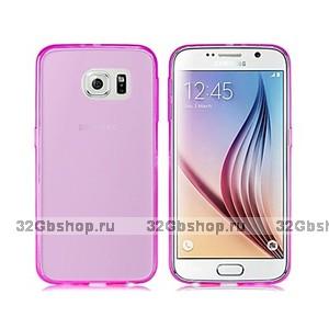 Розовый прозрачный силиконовый чехол для Samsung Galaxy S6