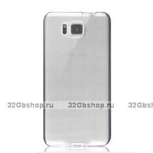 Серый прозрачный силиконовый чехол для Samsung Galaxy Alpha ультратонкий